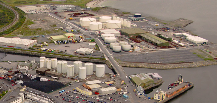 Port of Galway Harbour Oil Terminal from above